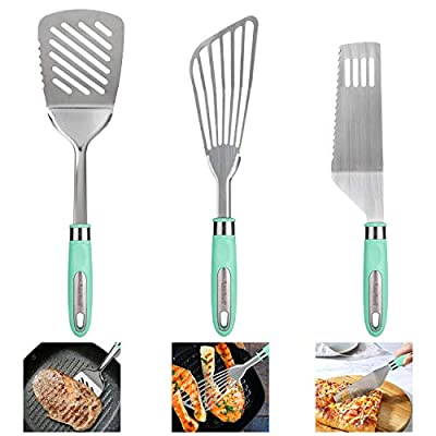 3in1 Stainless Steel Spatula Set, Portable Fish Spatula Slotted Pancake Turner with Rubber Grip Kitchen Utensils Spatulas Turners Set for Baking BBQ&Grilling