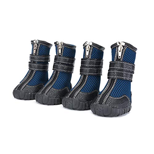 Only Pet Dogs Boots Winter Hiking Shoes XXL, Non Slip Mesh Booties with Rubber Sole, Cool Breathable Large Boots for Sled Dog Golden Retriever Shepherd(Blue Size 10 W2.4 x L3.15)