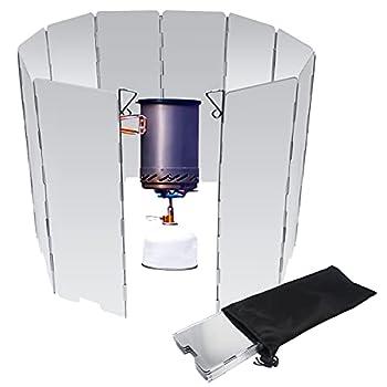 Pare-Vent Pliable en Alliage d'aluminium 10 Assiettes Camping Plein Air Pare-Brise pour Rechaud de Camping Pare-Vent Rechaud Cuisinière à Gaz BBQ de Pare-Brise