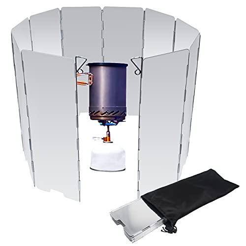 Placas Parabrisas Plegable Parabrisas Aluminio Plegable 10 Placas para Camping aleación de Aluminio con Cocina Estufa de Gas Escudo Pantalla de Viento Cortavientos al Aire Libre
