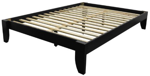 Copenhagen All Wood Platform Bed Frame, Twin, Black