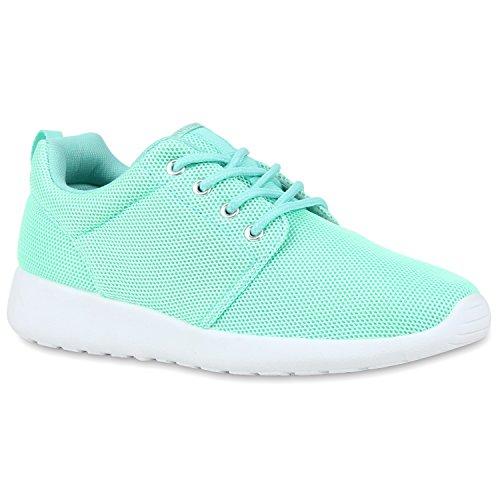stiefelparadies Damen Sport Übergrößen Trendfarben Runners Sneakers Lauf Fitness Prints Schuhe 106562 Hellgrün 41 Flandell