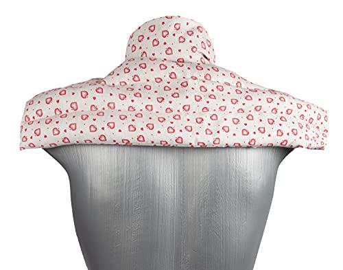 Cojín de calor para el cuello: cojín de semillas de colza para hombros y cuello, con cuello, cojín de calor para microondas y horno (amor de la casa de campo, semillas de colza)