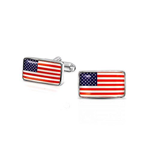 Bling Jewelry Patriotische Rot Weiß Blau Sterne Streifen Amerikanischen Usa Flagge Shirt Manschettenknöpfe Für Männer Messing Stahl Scharnier Zurück Graduierung Geschenk