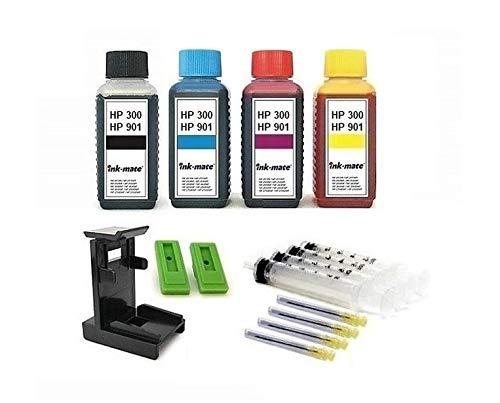 Tintenpatronen Nachfüll-Set für HP 300 und HP 901 black und color Drucker-Patronen - je 100 ml Premium Refill-Tinten black, cyan, magenta und yellow, mit Adapter, Befüll-Anleitung, Zubehör