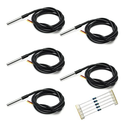 Gikfun DS18B20 Temperature Sensor Waterproof Digital Thermal Probe Sensor for Arduino (Pack of 5pcs) EK1083