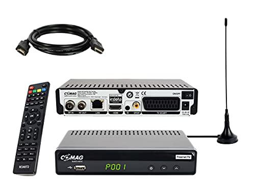 COMAG SL65T2 DVB-T2 Receiver inkl. 3 Monate gratis Freenet TV (Private Sender in HD), PVR Ready, Full-HD 1080p, HDMI, SCART, Mediaplayer, USB 2.0, 12V tauglich, 2m HDMI Kabel und DVB-T2 Antenne