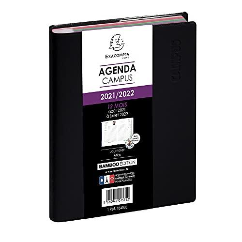 Exacompta - 184001E - Agenda journalier Forum campus - Agenda 1 jour à la page - 12 cm X 17 cm - couverture amovible - août 2021 à Juillet 2022 - Coloris Noir