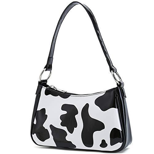 Small Shoulder Bags for Women Elegant Feminine Mini Handbags with Zipper Closure (Black/White Style 1)