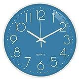 TOPPTIK Moderno Orologio da Parete Digitale 30 cm qualità Orologio da Parete a Batteria Senza ticchettio, Rotondo Decorativo per Cucina, Ufficio, Camera da Letto, Soggiorno (blu-L)…