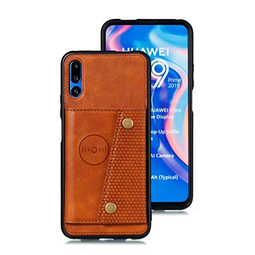 nh Case for Huawei Honor 9X Case with Card Slots Holder Phone Cover Leather Exterior [with Screen Protector] [4 Card Pockets] Compatible for Huawei Honor 9X - Brown