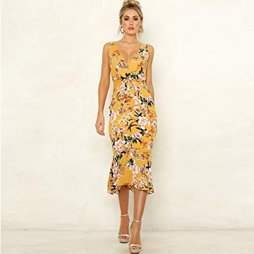 Generic Brands V Neck Print Kleid Frauen Rüschen Hohe Taille Ärmelloses Print Kleid Mode Mittellanges Sommerkleid L Gelb