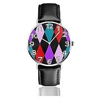 腕時計 ラージハーレクインダイヤモンド ウォッチ 極薄型 シンプル ファッション クォーツ時計 38mm文字盤 レザーバンド 男女兼用