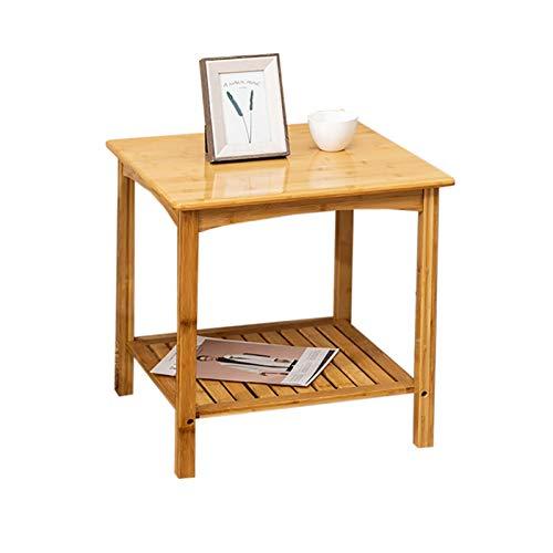 Shelf Beistelltische Beistelltisch/C-förmiges Sofa Beistelltisch, Nachttisch aus Bambus, Snack-Tisch für Wohnzimmer/Laptop/Schlafzimmer/kleine Räume, einfach zu montieren, 19,7 Zoll × 19,7 Zoll × 19