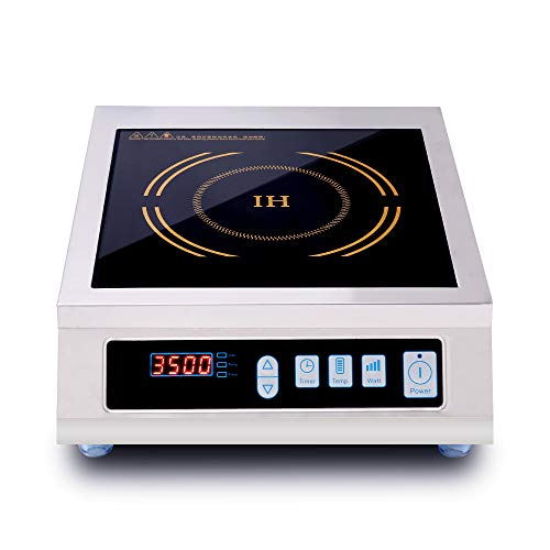 JOZOOES 3500 Watts / 220V Induction Cooktop Commercial Countertop Induction Cooker Portable Electric Burner Hot Plate with Digital Display Panel for Home School & Restaurant