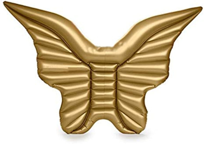 Lyjfzkjgs Schwimmende Reihe des Aufblasbaren Pontons Pool Der Schwimmenden Entwsserung des Goldenen Schmetterlings des Bettes Schwimmende,Airless Pump