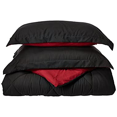 Elegance Linen Super Soft Goose Down Reversible Alternative Comforter, Queen, Black / Burgundy