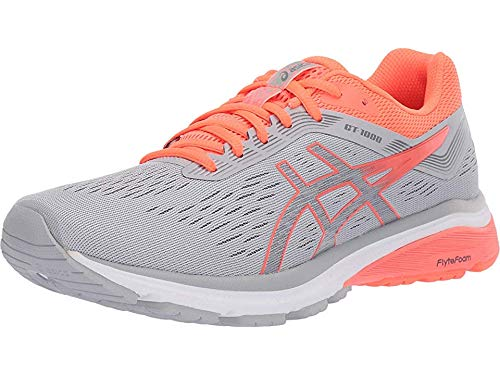 ASICS Women's GT-1000 7 Running Shoes, 9M, MID Grey/Flash Coral