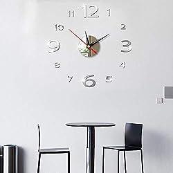 Allequal Small Acrylic Modern DIY Wall Clock 3D Mirror Surface Sticker Home Office Decor