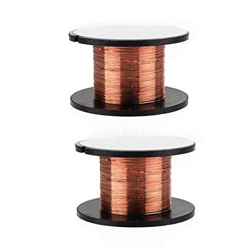Herramientas electrónicas, alambre de cobre esmaltado, alambre de magnetismo, bobina magnética, bobina de alambre para electroimán Motor línea de soldadura Color cobre 2 piezas