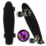 WeSkate Mini Cruiser Skateboard tabla completa retro 22 '55 cm tabla de skate vintage con borde de plástico Cruiser tabla con PU rueda flash rodamientos ABEC-7 para adultos niños niños niños niñas
