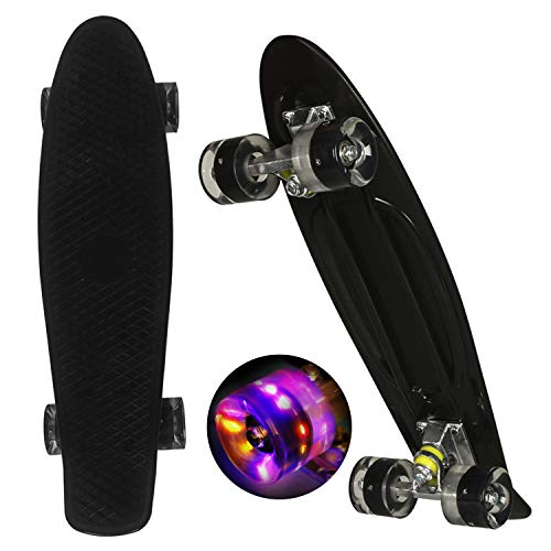 WeSkate Mini Cruiser Skateboard Tavola Completa retrò 22'55cm Tavola da Skate Vintage con Bordo in Plastica Cruiser Tavola con PU Ruota Flash Cuscinetto ABEC-7per Adulti Bambini Ragazzi Ragazze