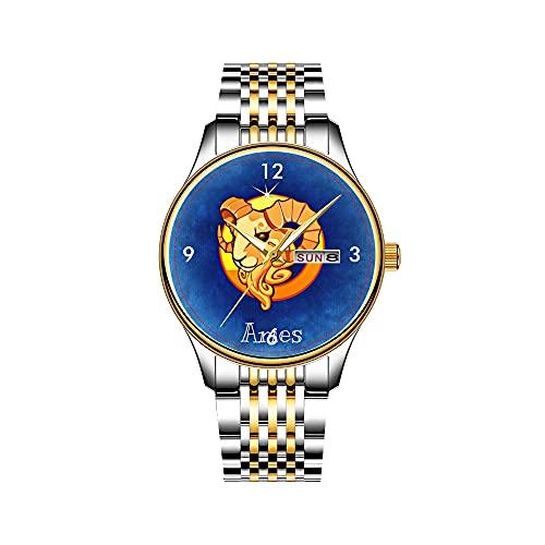 Zodiac_Sign_Aries Reloj de pulsera japonés de cuarzo con fecha y correa de acero inoxidable dorada