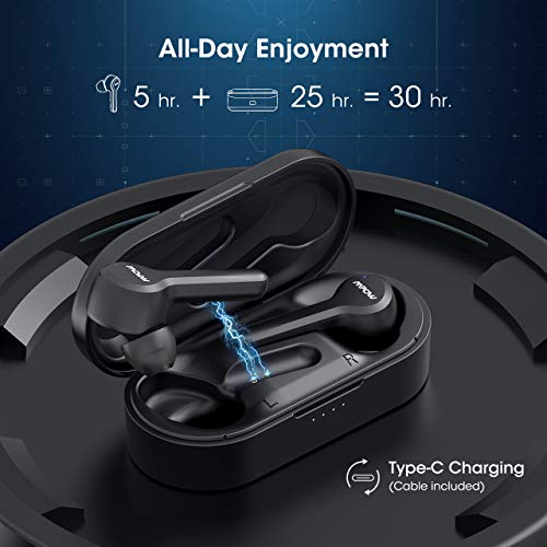 MPOW M9 True Wireless Earbuds w/ 200 Hours Standby and Bass, IPX7 Waterproof Bluetooth 5.0 Touch Key Headphones Charging Case, Wireless Earphones 30 Hours Playtime, in-Ear Mini Headset w/Microphones 4