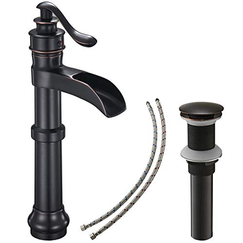 Bathroom Vessel Sink Faucet Oil Rubbed Bronze Black Farmhouse Waterfall Single Hole Tall with Pop Up Drain Assembly Without Overflow One Hole Mixer Tap Deck Mount Commercial Lead-Free by Bathlavish