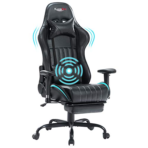 KASORIX Computer Chair High Back Gaming Chairs of Professional Racing Style Comfortable Gamer Chair with Footrest and Massage Backrest and Lumbar Pillows… (Black-009)