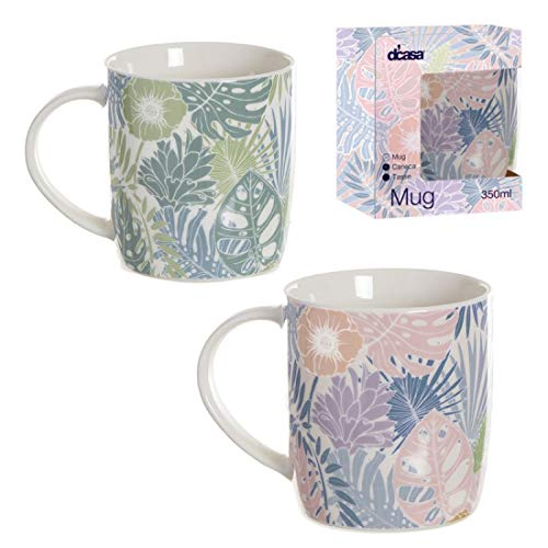 Home Gadgets Taza Mug Ceramica x2 Modelos 350 ml Tropical