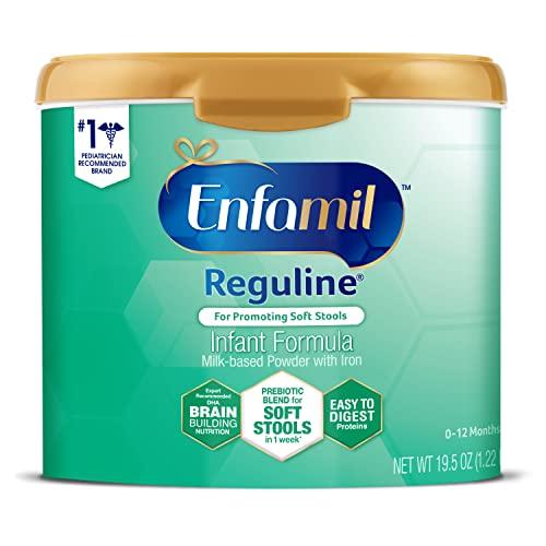 Enfamil Reguline Baby Formula, Designed for Soft, Comfortable Stools, with Omega-3 DHA & Probiotics for Immune Support, Reusable Powder Tub, 19.5 Oz