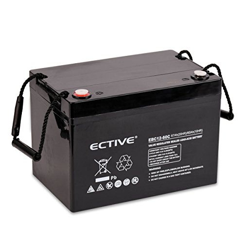 ECTIVE Bleiakku 12V 67Ah Zyklenfeste AGM Batterie Blei Akku EBC-Serie 13 Varianten: 25Ah - 280Ah (wartungsfrei)