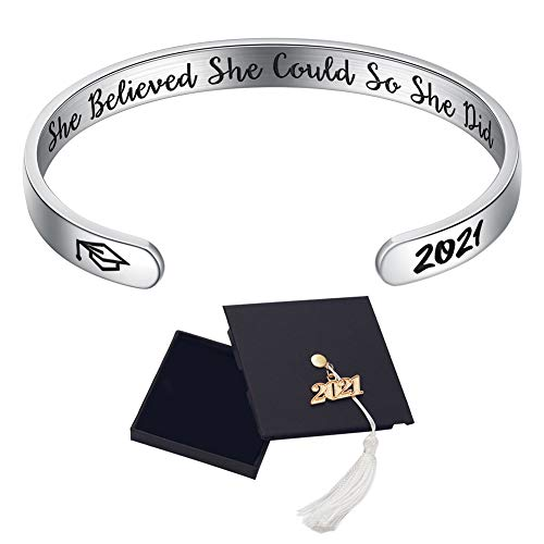 Ldurian Graduation Gifts for Her, 2021 Grad Bracelet Him, Senior Bangle Cuff, Inspirational Gift for High School Graduate, Engraved Quote She Believed She Could (Class of 2021 Cap Box & Bag & Card)
