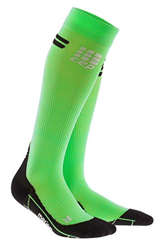 CEP - Merino Run Socks für Herren   Lange Laufsocken mit Kompressionswirkung   grün/schwarz   Größe V