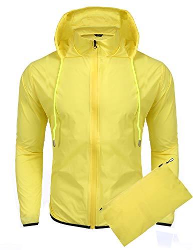 COOFANDY Unisex Packable Rain Jacket Lightweight Waterproof Hooded Outdoor Running Hiking Cycling Raincoat Yellow