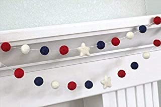 "Fourth of July Felt Ball and Star Garland- Red, White, Navy Blue- 1"" (2.5 cm) Wool Felt Balls"