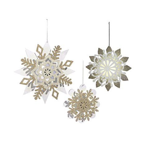 Grasslands Road Northern Lights: Light Up Snowflake Christmas Tree Ornaments (Pack of 3)