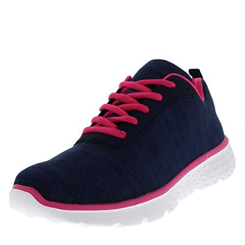 Get Fit Donna Mesh Go in Esecuzione Formatori Atletico Camminare Gym Scarpe Sport Correre - Marina/Rosa/Bianca Jersey GW0003 5UK/38