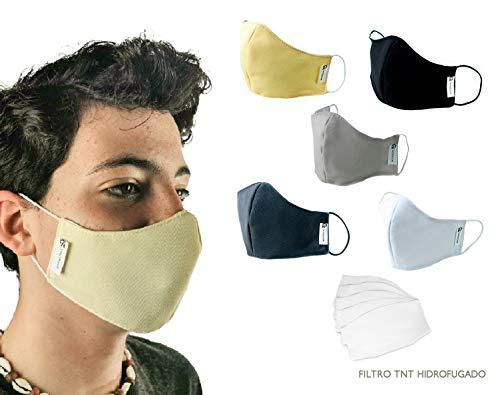tapidecor Face Pack 5 UDS MASCARILLAS HIGIENICAS DE Tela Lavable Reutilizable 2 Capas + Bolsillo con 5 FILTROS Tela TNT INCLUIDOS. Ajuste Orejas. Talla M (Mujer - Joven - NIÑOS)