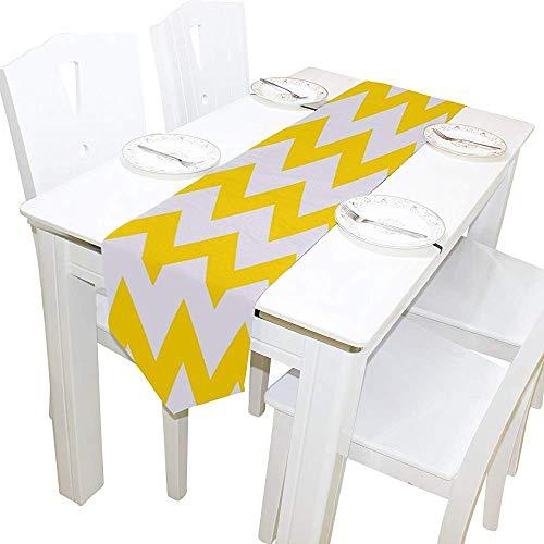 Eunice Patrick Geometrische Streifen gelb Chevron Tischläufer Tischsets 13 X 90 (In) Couchtisch Flagge Bettläufer