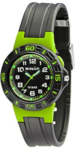 SINAR Unisex-Armbanduhr Jugenduhr Sport outdoor Analog Quarz 10bar Drehring Licht Resinband XB-20-3