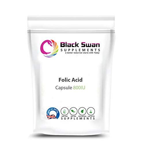 Black Swan Folic Acid 800IU Capsule - for Healthy Heart - All Natural Supplement - Support Anaemia and Brain Health - Female Supplement (30 Caps)