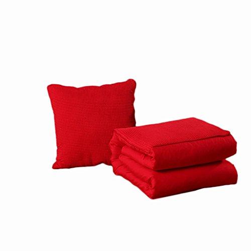 CGN ソリッドカラーピローキルトデュアルユースポータブルアウトドアカーフォールドクッションソファクッションホームオフィスは、腰部のベッドを保護しますバックレスト 柔らかく快適 (色 : 赤, サイズ さいず : 150*195CM)