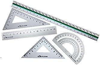 """Taiga Now - 5-Pc, 12"""" Premium Aluminum Triangular Scale Ruler Set - with 4-Pc Aluminum Triangle Ruler Square Set - Great for Students, Homeschoolers, Architects, Engineers - STEM Education and More!"""