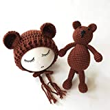 PZNSPY Cute Newborn Baby Girls Boys Knit Crochet Bear Hat Cap Disfraz...
