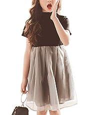 Weileenice 女の子 ワンピース 子供 ドレス フォーマル 薄手 プリンセス ふんわり 韓国風 クリスマス 結婚式 演奏会 発表会 入学式 卒業式