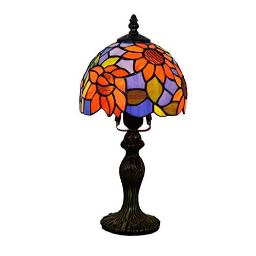 DALUXE Lámparas de Mesa Tiffany Lámpara de Pintura de Cristal de 8 Pulgadas Girasol Mediterráneo Lámpara Art Deco Lámpara para Dormitorio Sala de Estar Salón de alojamiento, Zócalo de Aluminio, E27