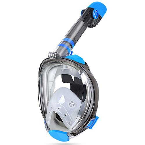 OUSPT Full Face Snorkel Mask, Snorkeling Mask with Detachable Camera Mount,Panoramic 180° View Upgraded Dive Mask with Safety Breathing System,Dry Top Set Anti-Fog Anti-Leak for Adults and Kids