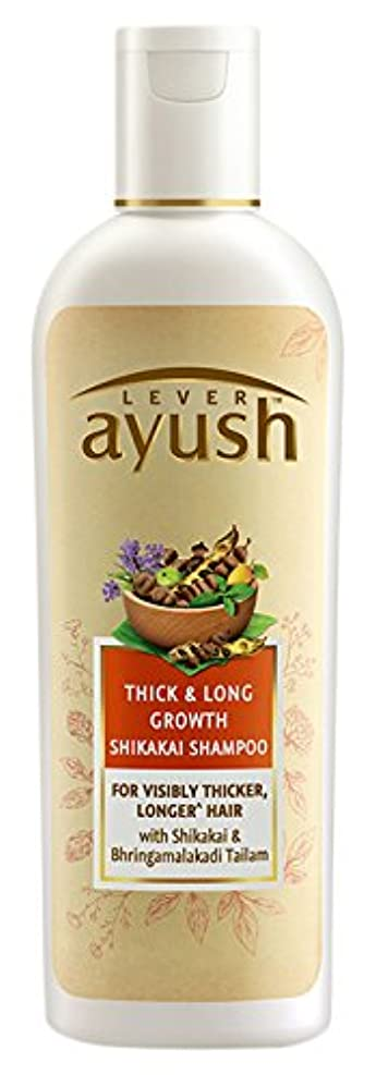 ユーモア電気の共役Lever Ayush Thick and Long Growth Shikakai Shampoo, 175ml - 並行輸入品 - レバーアユッシュシック&ロンググローブシカカイシャンプー、175ml